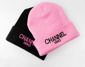 hat black pink beanie chanel fall hat