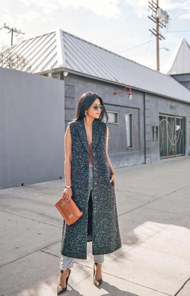 coat tumblr vest grey coat grey long coat long coat bag handbag pumps sunglasses