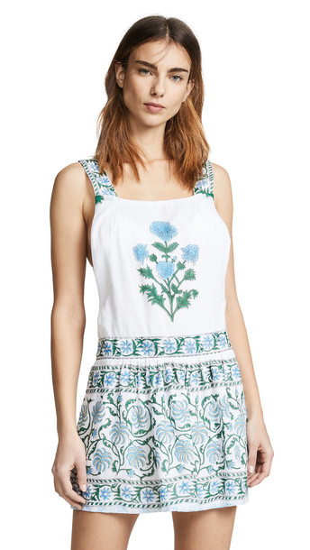 Juliet Dunn Cotton Poppy Print Pinafore Dress