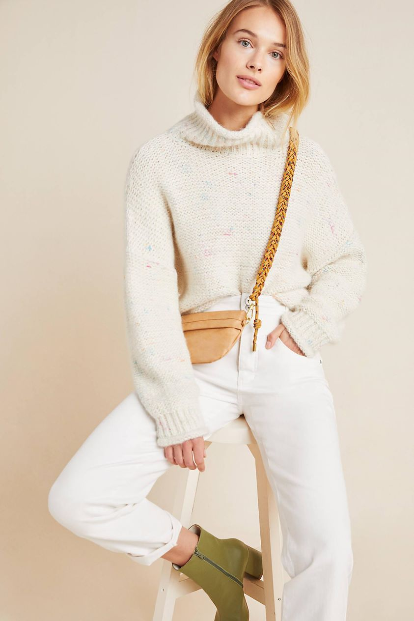 Charlotte Turtleneck Sweater by Anthropologie in White