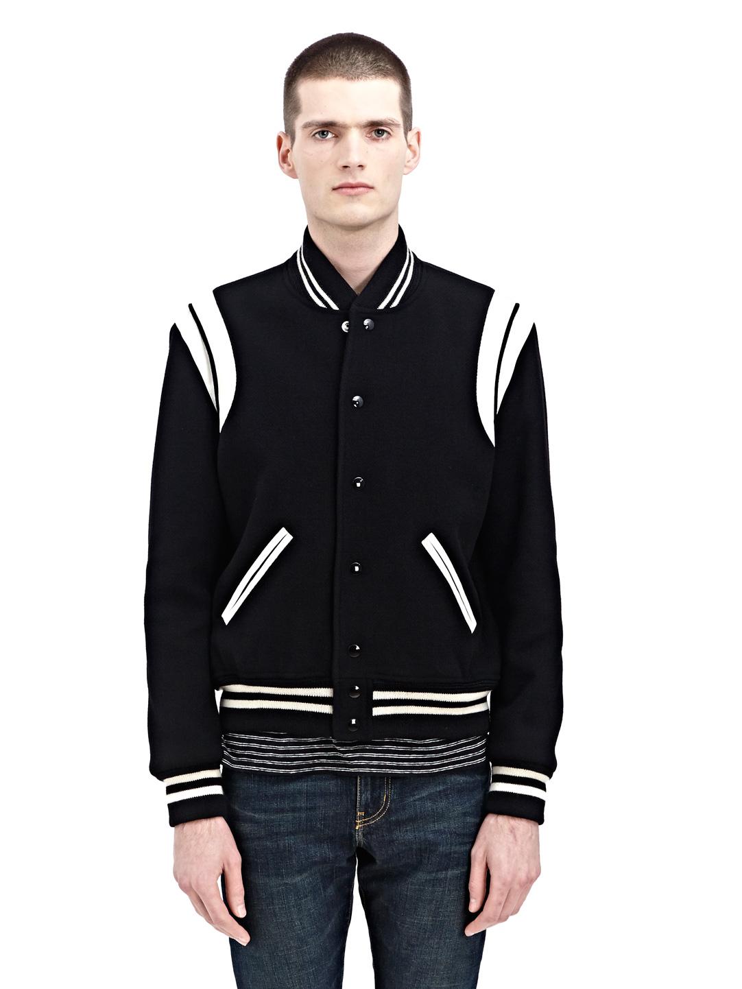 0de0083d NEW SEASON - Saint Laurent Mens Wool Teddy Varsity Jacket