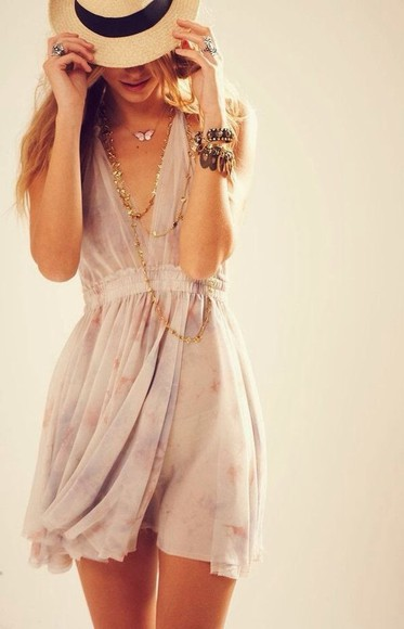 spring short flows deep v neck dress