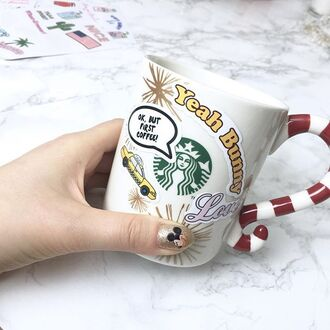 home accessory yeah bunny stickers cute space kiss nails starbucks coffee