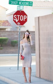 fashion addict,blogger,dress,shoes,bag,bardot dress,nude dress,sexy dress,bodycon dress,three-quarter sleeves,button up,sunglasses,mirrored sunglasses,silver sunglasses,clutch,red clutch,pumps,nude pumps,date dress,date outfit,high heel pumps