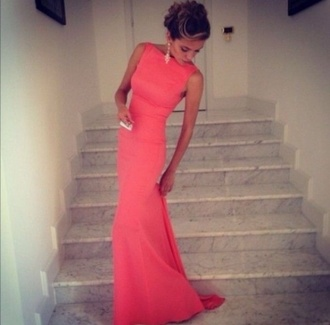 dress coral dress formal dress high neckline backless dress