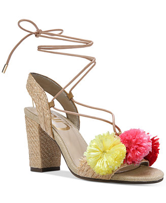 Circus By Sam Edelman Ellie Pom Pom Block-Heel Sandals - Sandals - Shoes - Macy's