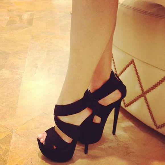 shoes black heels black straps blackshoes strappy heels high heels platform sandals dress heels