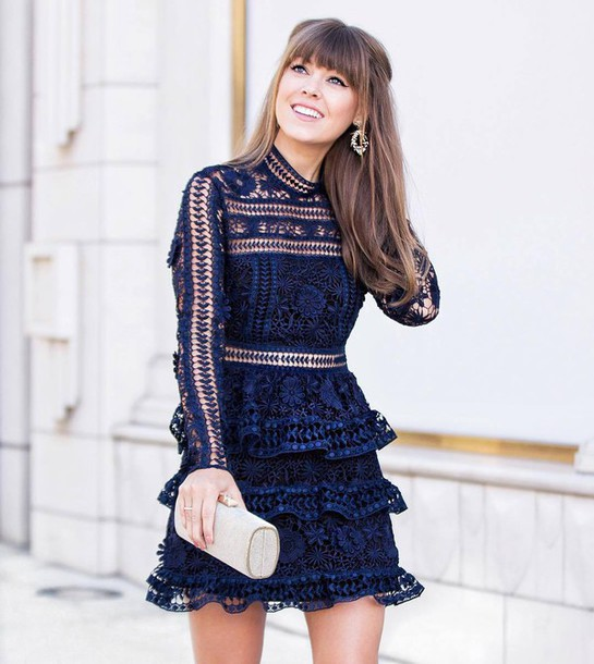 264886a00536 dress tumblr blue dress mini dress ruffle ruffle dress long sleeves long  sleeve dress clutch bag