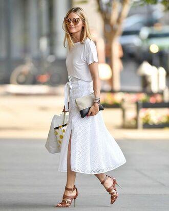 t-shirt white tee white t-shirt brown sandals white skirt céline linen pouch céline carolina herrera carolina herrera heels pinterest olivia palermo tularosa