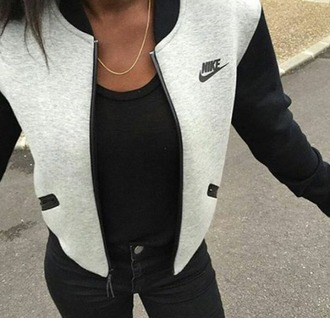 nike nike sweater cardigan sweater grey jacket varsity jacket bomber jacket logo nike jacket college jacket baseball jacket jacket coat black grey women girly grey nike bomber jacket