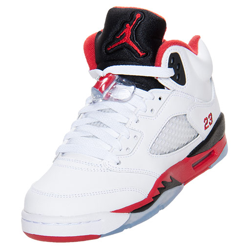 3ecda86045f Boys' Grade School Air Jordan 5 Retro Basketball Shoes | FinishLine.com |  White/Fire Red/Black