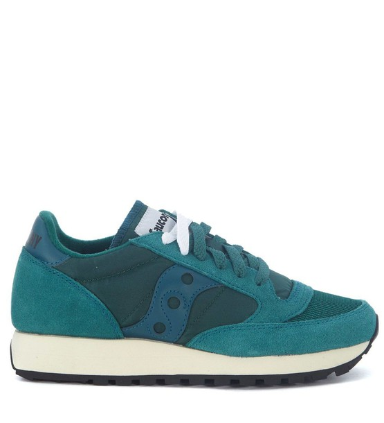 Saucony suede green teal shoes