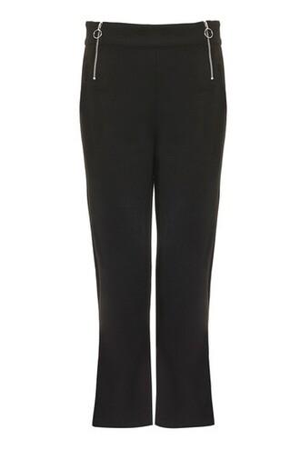 flare zip black pants