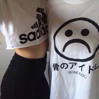 t-shirt adidas tumblr aesthetic sad shirt