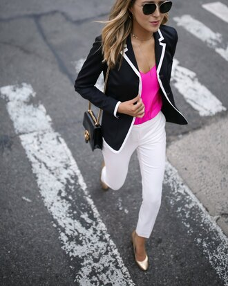 memorandum blogger jacket tank top pants shoes sunglasses pumps white pants blazer pink top