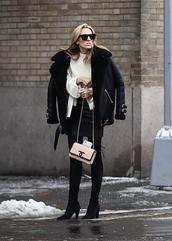 jacket,nyfw 2017,fashion week 2017,fashion week,streetstyle,black jacket,black leather jacket,leather jacket,shearling jacket,black shearling jacket,sweater,white sweater,skirt,mini skirt,black skirt,black leather skirt,leather skirt,bag,nude bag,chanel,chanel bag,tights,opaque tights,boots,black boots,high heels boots,sunglasses