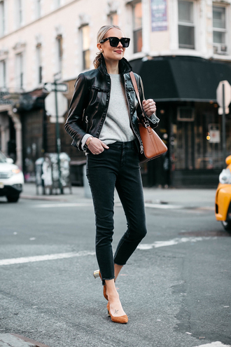fashionjackson blogger jacket sweater jeans shoes sunglasses black leather jacket pumps winter outfits