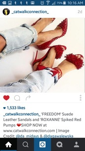 shoes,red shoes,pom pom heels,studded shoes,red,strappy heels