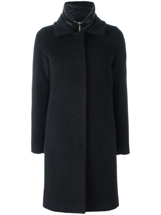 coat women black silk wool