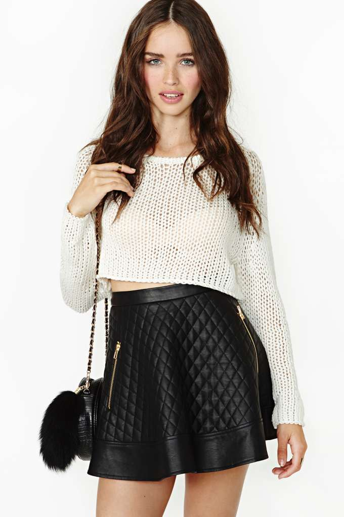 Nasty Gal Catching Heat Crop Knit - White in  Clothes Tops Cropped at Nasty Gal
