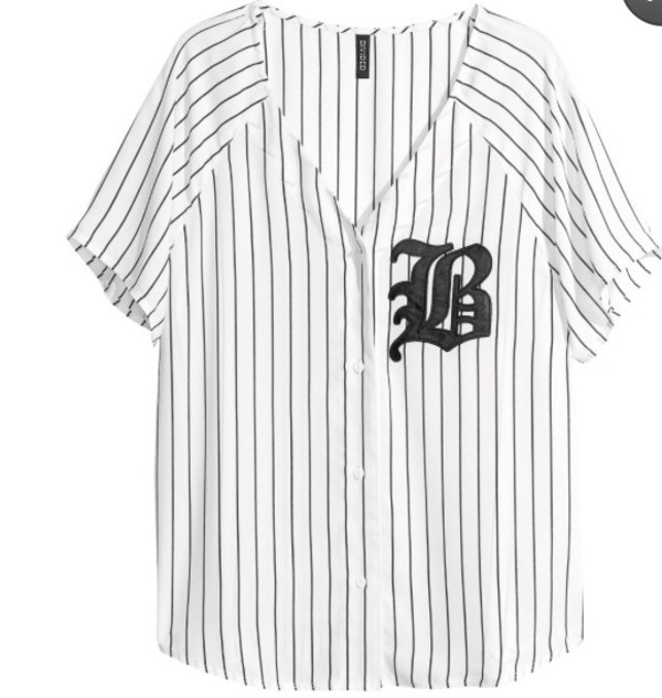 shirt baseball jersey jersey white black
