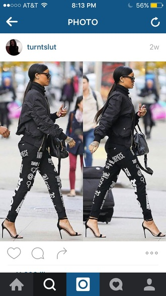 jacket rihanna black black heels black purse purse sunglasses bags and purses leggings joggers turtleneck ponytail cute