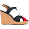 Tommy hilfiger - colourblock wedge sandals - women - leather/tactel/rubber - 40, blue, leather/tactel/rubber