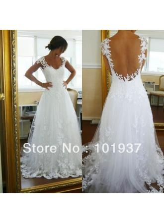 Discount wholesale white applique floor length bridal dress cap sleeves wedding dresses bo1091 on sale at weddingdressyes.com