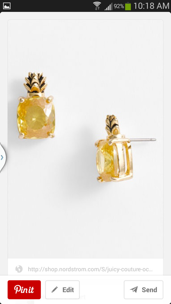 jewels pineapple yellow studs earrings
