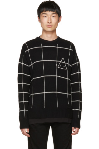 McQ Alexander McQueen Black 'End' Grid Sweater