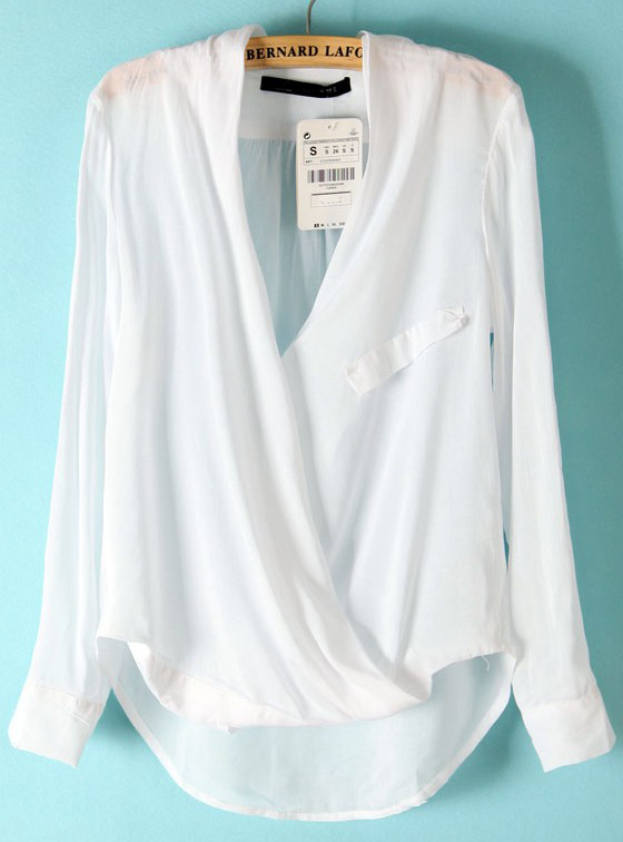 White Long Sleeve Front Cross Dipped Hem Blouse - Sheinside.com