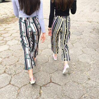 pants yeah bunny floral flowers summer sun stripes