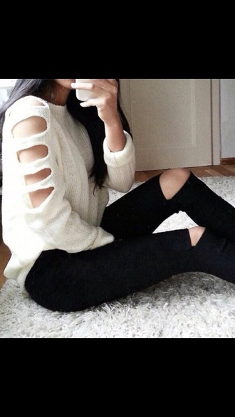 sweater white sweater holes in shirt blouse winter sweater pants