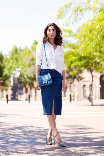 Skirt: denim slit skirt, blue skirt, midi skirt, slit skirt, denim ...