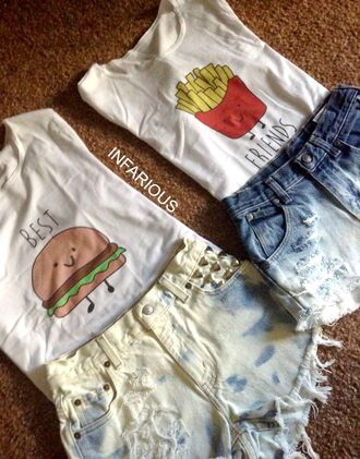 shirt best friend shirts best friends top food love hipster crop tops crop cropped bff bff shirts