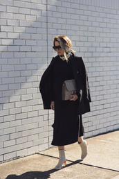 oracle fox,blogger,jacket,sweater,skirt,shoes,bag,jewels,sunglasses,maternity,maternity dress,midi dress,fall dress,black dress,blazer,black blazer,black sunglasses,chloe faye bag,grey bag,suede bag,boots,clear heel,grey boots,block heels,fall outfits,black midi dress,black knit dress