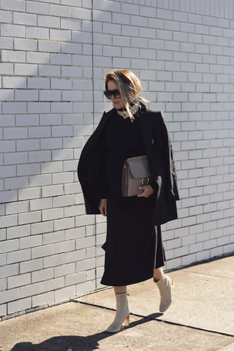 oracle fox blogger jacket sweater skirt shoes bag jewels sunglasses maternity maternity dress midi dress fall dress black dress blazer black blazer black sunglasses chloe faye bag grey bag suede bag boots clear heel grey boots block heels fall outfits black midi dress