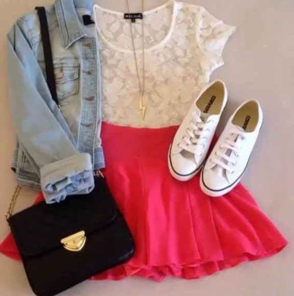 skirt bag t-shirt shirt white white t-shirt black bag jean shirt, light colored white shoes red skirt jumpsuit blouse jacket denim jacket shoes rose denim jacket denim jacket pink skirt lace shirt lacy floral