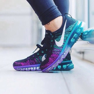 shoes nike shoes teal purple cute shoes running shoes nike running shoes