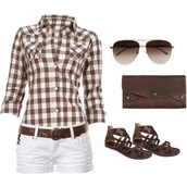 skirt,brown sunglasses,plaid shirt,white shorts,shirt,clothes,shoes,jeans,blouse,shorts and blouse,shorts,white,plaid,red and white striped,brown belt,brown shoes,belt,sunglasses,ripped,brown and white checkered top