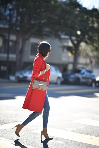 coat tumblr red coat bag nude bag denim jeans blue jeans skinny jeans pumps pointed toe pumps high heel pumps
