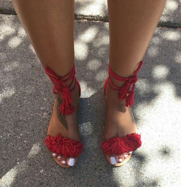 ae63485513a shoes lace up sandals red sandals fringed sandals fringes strap sandals  suede lace up sandals red