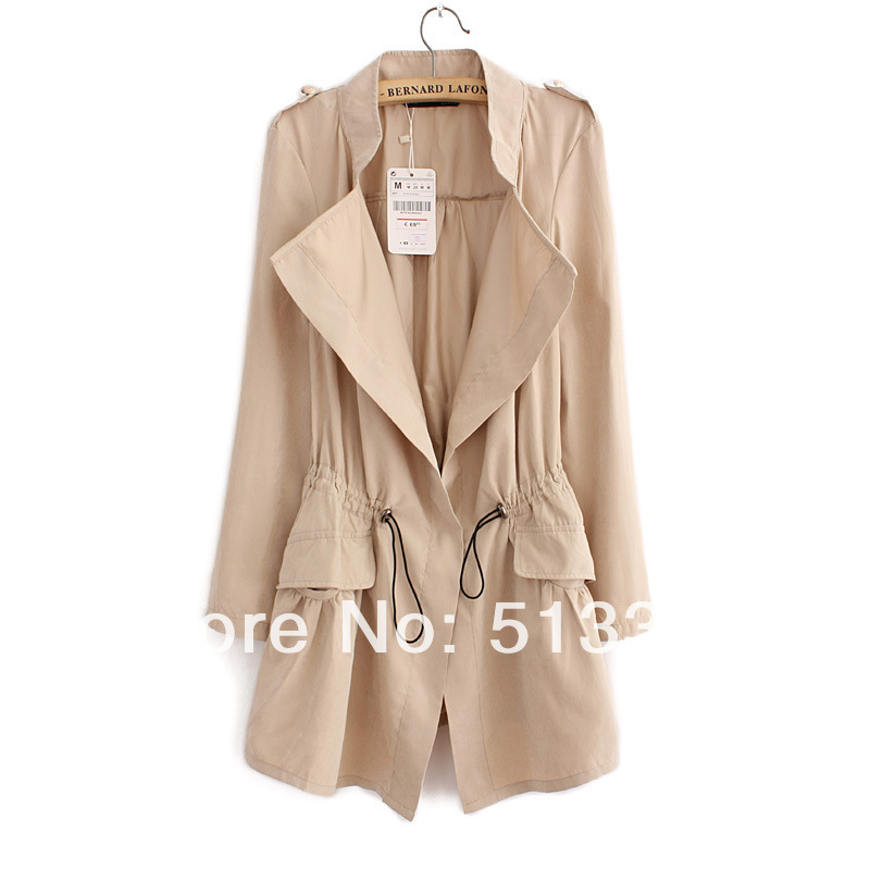 2014 New Korean style trench casual outwear thin long sleeve coat women windreacker in 5 colors free shipping-in Basic Jackets from Apparel & Accessories on Aliexpress.com