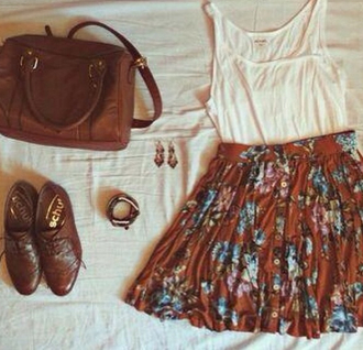 skirt oxfords crossbody bag dangle earrings floral skirt white tank top top shoes bag jewels