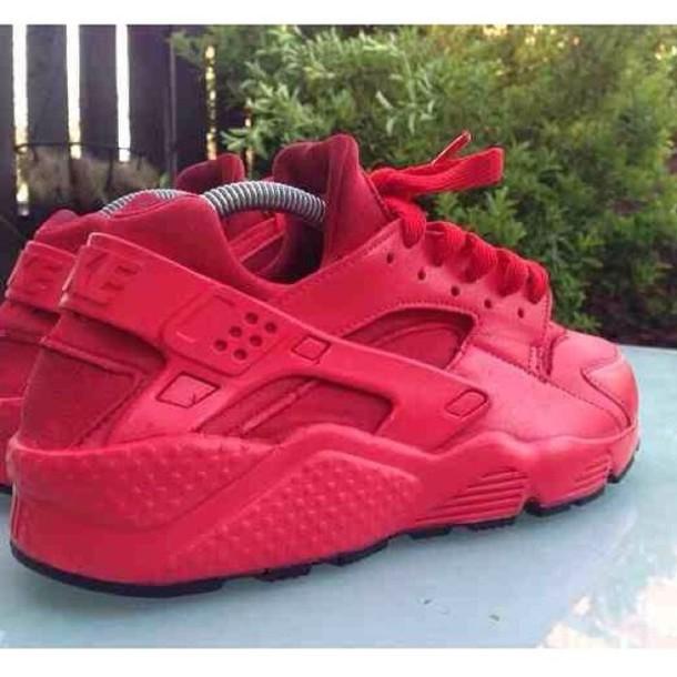 1bcd0eda25 shoes, all red huaraches nike, nike, huarache, red sneakers - Wheretoget