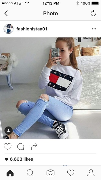 sweater white oversized sweater tommy hilfiger