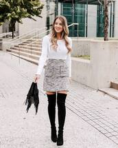 skirt,mini skirt,high waisted skirt,pockets,thigh high boots,suede boots,handbag,white blouse,black boots,chain necklace