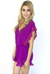 romper,magenta,lacy romper,magenta lace,frilly shorts,open back romper,www.ustrendy.com