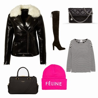 meet me in paree blogger shiny black jacket striped top black boots jacket shoes top bag hat