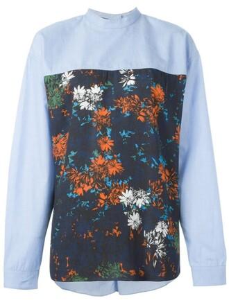 shirt floral print blue top